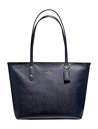 COACH CITY ZIP TOTE CROSSGRAIN LEATHER HANDBAG BLACK (IM/Midnight)