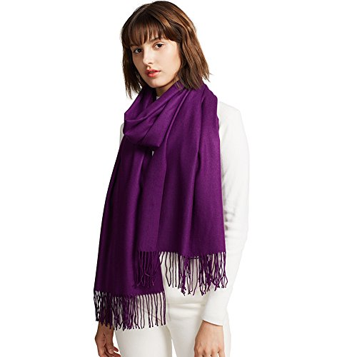 MaaMgic Womens Large Soft Cashmere Feel Pashmina Shawls Wraps Winter Light Scarf (Night Light Plum)