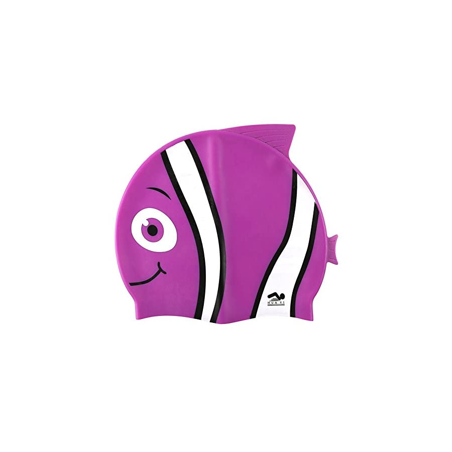 Kids Swim Cap, Fun Design [Silicone] Boys Swim Hats Animal Fish Shaped [Girls Swimming Hats] for Kids (Purple)