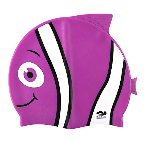 Kids Swim Cap, Fun Design [Silicone] Boys Swim Hats Animal Fish Shaped [Girls Swimming Hats] for Kids (Purple)