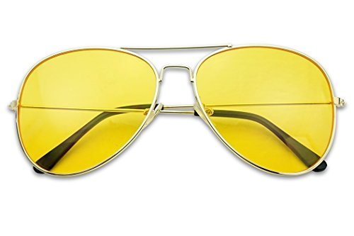 Sunglass Stop - Oversized Round 80's Vintage Yellow Night Driving Aviator Sunglasses (Gold, Yellow)]()