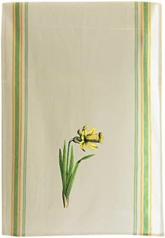 Daffodil Vintage Look Cotton Retro Stripe Dish Kitchen Towel Green Stripe