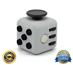 Stress Cube for Fidgeters! Relieve Stress, Anxiety, and Boredom for Children and Adults. Gray Color