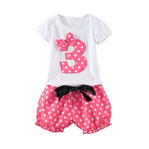 Mud Kingdom Little Girls Birthday Outfits I Am 3 Years Clothes Short Sets Pink 3T