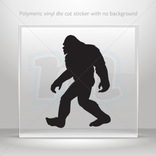 Stickers Decals Bigfoot sasquatch figure car helmet window bike Garage door 6 X 4.2 Inches Black 0602 W9W79