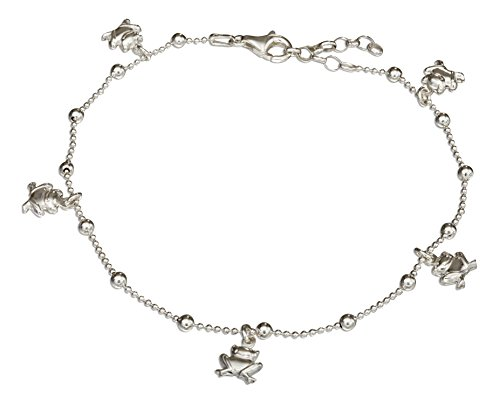 Sterling Silver 9 inch to 10 inch Adjustable Bead Anklet with Frog Dangles