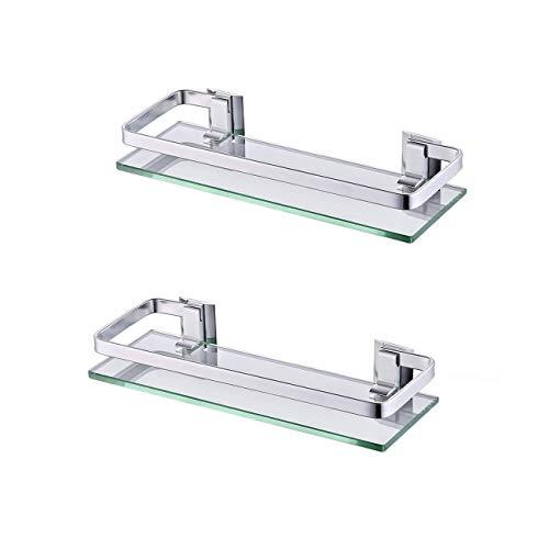 KES Bathroom Glass Shelf Anodized Aluminum Tempered Glass 8MM Extra Thick 2 Pack Retangular 1 Tier Storage Organizer Wall Mount Sliver, A4126A-P2