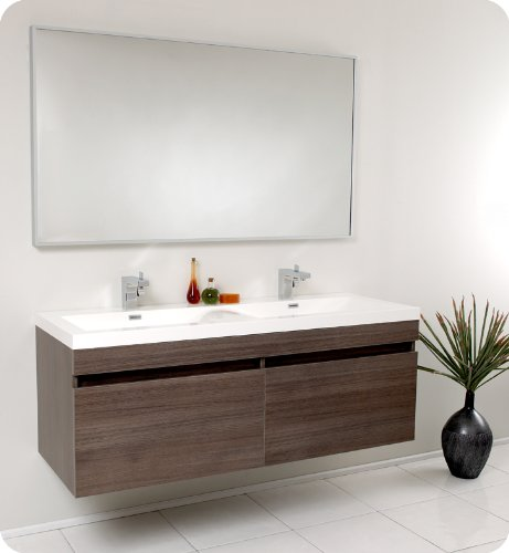 Fresca Bath FVN8040GO Largo Vanity with Wavy Double Sinks, Gray Oak