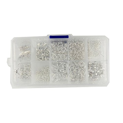 Honbay Jewelry DIY Finding Kit, 10 Style 650pcs Finding Starter Beading Jewelry Making DIY Kit, Jewelry Making Finding Accessories in Clear Box, Silver (Jewelry Making Starter Kit)