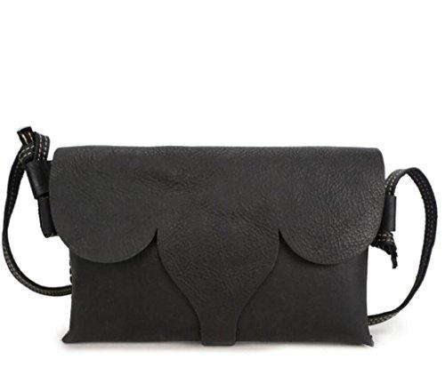 SHOUTIBAO Bolso Bandolera Mujer/Bandolera/Cartera iPad, Bolsos Retro, Hechos a Mano, Compras, Diario (Tres Colores), Shiny Black shiny black