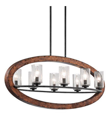 (Kichler 43191AUB Grand Bank Linear Chandelier 8-Light, Auburn Stained Finish )