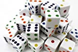 """Custom & Unique {Standard Medium Size 16mm (5/8"""" Inch)} 50 Ct Bulk Pack Lot of 6 Sided [D6] Square Cube Shape Opaque Playing & Game Dice [White, Red, Orange, Yellow, Green, Blue & Purple Colored]"""