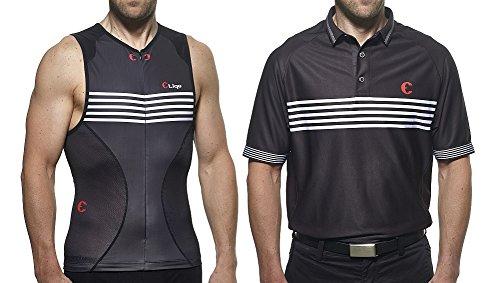 Etiqe Men's Golf Shirt (Polo) and Compression Vest - Performance Set - XX-Large - Short Torso - Black
