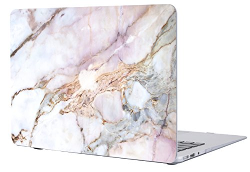 A1706/A1708 Macbook Pro 13 Case 2017 & 2016 Release, SALMEN Hard Protective Matte Shell Case Cover for Newest Mac Book Pro 13 Inch with/without Touch Bar (Pink Striate Marble)