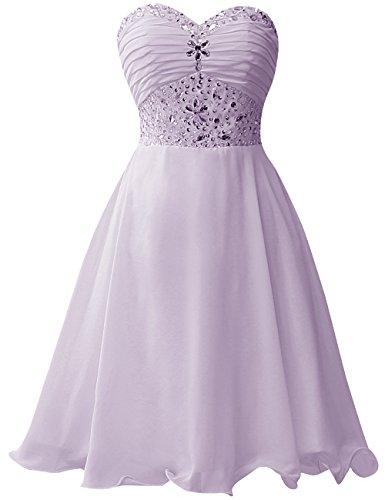 Ballkleider Linie A Partykleid Abendkleid Brautjungfernkleid Kurz Cocktailkleider Chiffon Lavendel TqrTYC