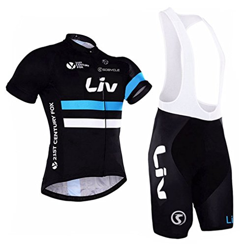 Women's Short Sleeve Cycling Jerseys and Bib Shorts Set Bicycle Jersey Summer Quick Drying Breathable Jersey Black V18 (Q, -