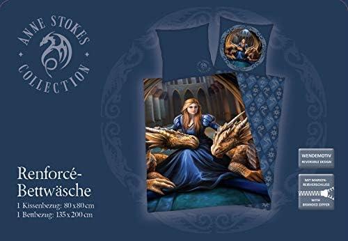 Herding Anne Stokes Bettwäsche-Set, Wendemotiv, Bettbezug 135 x 200cm, Kopfkissenbezug 80 x 80cm, Baumwolle/Renforcé
