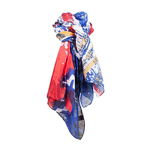 SCF028-Multi-Colour Blue Red Abstract Patterned Shawl Wrap