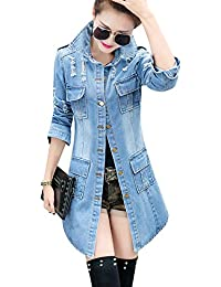 Women's Casual Lapel Slim Long Sleeve Denim Outercoat Jacket Windbreaker