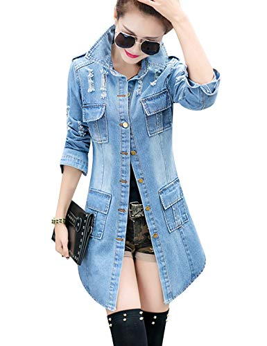 Tanming Women's Casual Lapel Slim Long Sleeve Denim Outercoat Jacket Windbreaker (Large, Blue)