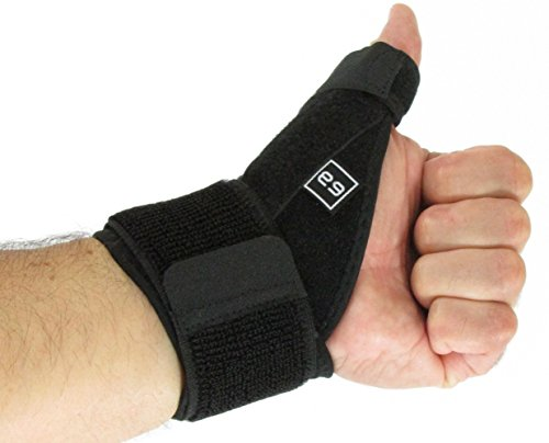Thumb Wrist Splints (Wrist Brace with Thumb Splint by ELY GEAR | Stabilizer Support for Pain Reliever & Recovery - Dual Spring - Reversible - Black)