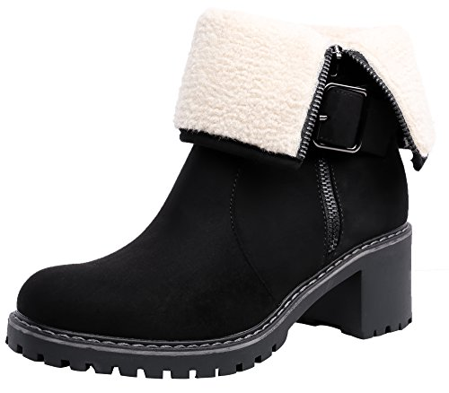 SHENBO Women's Winter Boots Fold Faux Shearling Trim Ankle Bootie(8,Black) by SHENBO