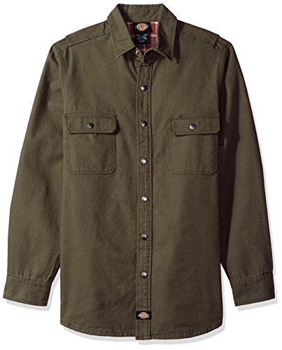 Dickies Men's Flannel Lined Shirt, Rinsed Moss Green, 3X (Lined Snap)