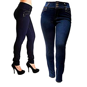 5IVE Women's Plus Size Stretch Black/Blue High Waist Denim Jeans Pants Skinny Leg