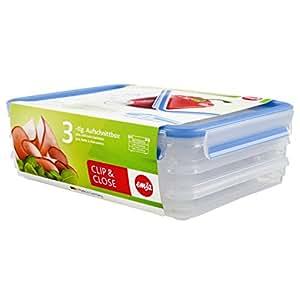 Emsa Clip&Close 508556- Set de 3 Conservadores Herméticos de Plástico Rectangular 1L con sistema apilable y colector de jugos, higiénico, no retiene olores ni sabores 100% libre de BPA