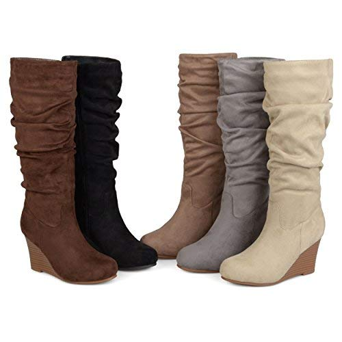6cee83f1ed51 Brinley Co. Womens Regular and Wide Calf Slouchy Faux Suede Mid-Calf Wedge  Boots