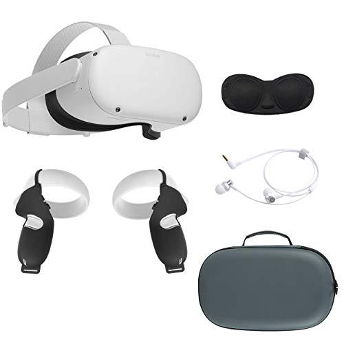 2020 Oculus Quest 2 All-in-One VR Headset, 64GB SSD, LCD de frecuencia de actualización de 1832x1920 hasta 90 Hz, gafas compatibles, audio 3D, estuche de transporte Mytrix, audífono, cubierta de agarre, cubierta de lente