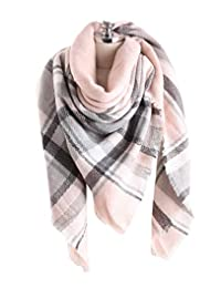 GERINLY Womens Winter Soft Plaid Tartan Checked Scarf Warm Shoulder Cover Winter Wrap (Pink Grey)