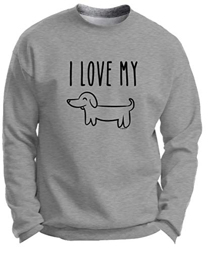 Punny Animals Gifts Doxie Gifts for Dog Owner Dachshund Dog Gifts I Love My Wiener Pun Gag Gifts Premium Crewneck Sweatshirt Large LtStl Light Steel