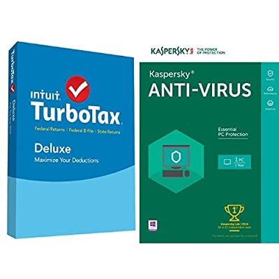 TurboTax Deluxe 2015 Federal + State Taxes + Fed Efile Tax Preparation Software - PC/Mac Disc with Kaspersky Anti-Virus 2016 | 1 PC | 1 Year | Download
