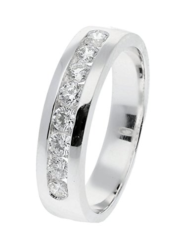 14k/18k/Platinum Channel Set Round Diamond Mens Wedding Ring