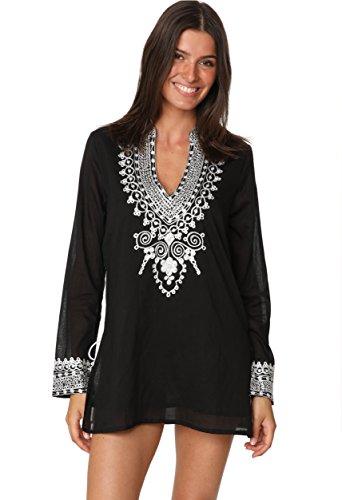 (Ingear Embroidered Blouse Boho Long Sleeve Peasant Summer Beachwear Cover Up (X-Large, Black))