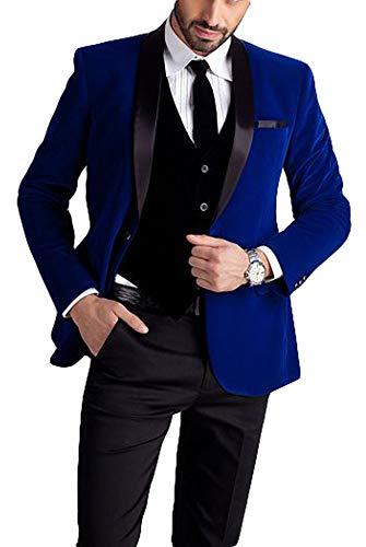 Botong Royal Blue Jacket Black Vest Pants Men Suits Wedding Suits Royal Blue 42 Chest / 36 -