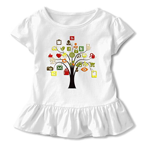 Price comparison product image Art Electronic Digital Tree Girls O Neck Short Sleeved T Shirt White 3T