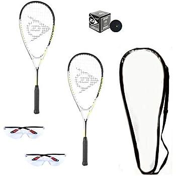 Dunlop Hyper Lite Ti Squash Racquet Set (Includes 2 Racquets, 2 Eyeguards, 1 Ball, Cover)