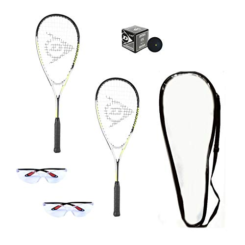 Dunlop Hyper Lite Ti Squash Racquet Set (Includes 2 Racquets, 2 Eyeguards, 1 Ball, Cover)