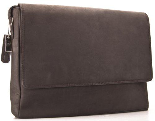 Visconti Hunter - Messenger Bag - A4 Laptop-Tasche - Arbeitstasche - geöltes Antik-Leder - Braun - # 18516 Schlamm Black