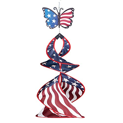Hanging American Flag (Collections Etc Butterfly Patriotic Hanging American Flag Wind Spinner)