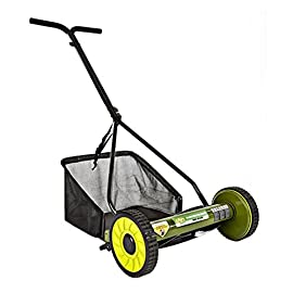Sun Joe Mow Joe 16 in. Manual Reel Mower with Catcher 109 Dimensions: 52.4L x 22.6W x 53.9H in. 16 in. cutting width 4 steel cutting blades