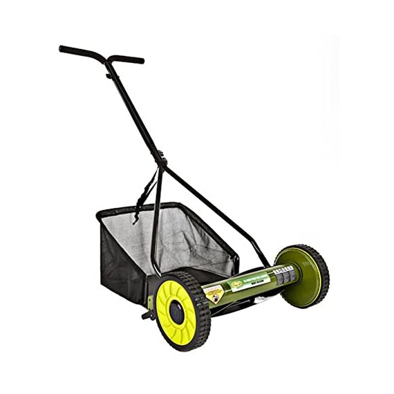 Sun Joe Mow Joe 16 in. Manual Reel Mower with Catcher 1 Dimensions: 52.4L x 22.6W x 53.9H in. 16 in. cutting width 4 steel cutting blades