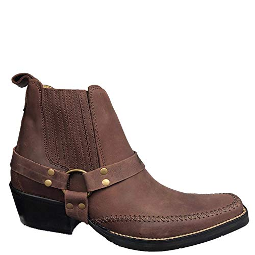 Brunello's Montana Men's Leather Snip Toe Western Boot with Low Cut- In Camel Fossil