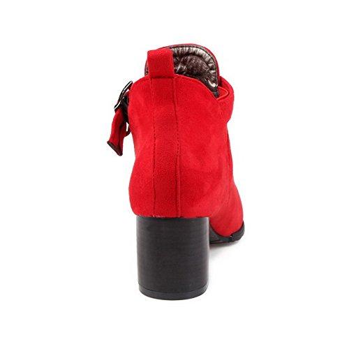 AllhqFashion Mujeres Hebilla Metal Tacón ancho Tobillo Botas con Ornamento Metal Rojo