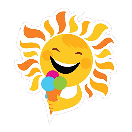 Die-Cut Sticker Multiple Sizes Sun Eating Ice Cream Retail Sun Eating Ice Cream Concession Restaurant Food Truck Die Cut Vinyl Sticker Indoor Decal Concession Sign Yellow - 14in Longest Side