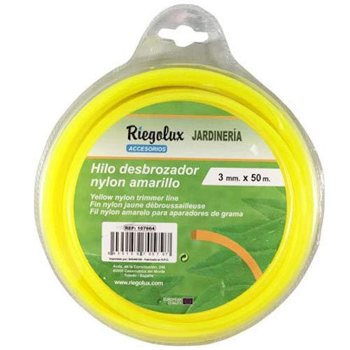 Riegolux 107664 Hilo Desbrozadora Nylon Cuadrada, Amarillo, 3 mm x ...