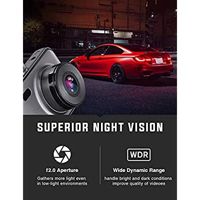 Dash Cam Front and Rear Include 32GB SD Card, 1080P Dash Camera for Cars 3 Inch LCD Screen Dual Dash Cam with Night Vision, 170° Wide Angle Dashboard Camera Motion Detection Parking Monitor G-Sensor: Car Electronics