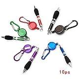 WINOMO 10pcs Retractable Pen + Badge Belt Clip + Carabiner Set (Random Color)